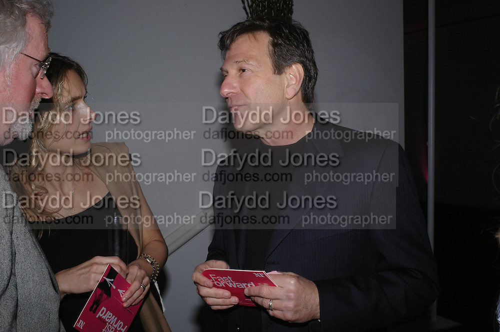 Maryam D'Abo, Hugh Hudson and Michael Brandon. Moet champagne reception, FAST FORWARD - a fundraising event for the National Theatre,  The former Saatchi Gallery, London NW8. 24 February 2005. ONE TIME USE ONLY - DO NOT ARCHIVE  © Copyright Photograph by Dafydd Jones 66 Stockwell Park Rd. London SW9 0DA Tel 020 7733 0108 www.dafjones.com