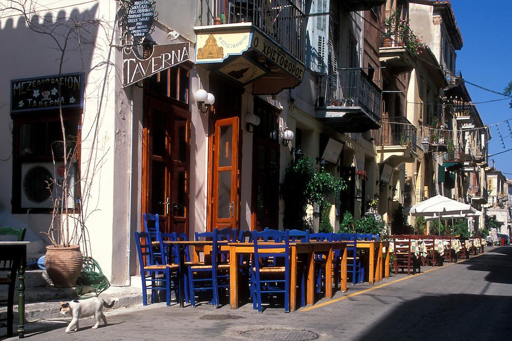 Europe, Greece, Argolis, Nafplio,  Sidewalk cafe (taverna) in seaside village on the Peloponnese