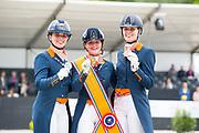 Podium U25 1. Jeanine Nieuwenhuis - TC Athene, 2. Jasmien de Koeyer - Esperanza, 3. Carlijn Huberts - Watoeshi<br /> NK Dressuur 2019<br /> © DigiShots
