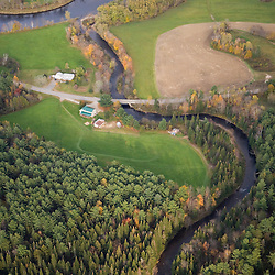 An aerial view of Paul Stream where it empties into the Connecticut River in Brunswick, Vermont.
