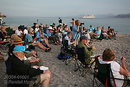 Passengers from Lindblad cruise ship enjoy barbeque dinner on Isla Carmen, Sea of Cortez, Baja, Mexico.