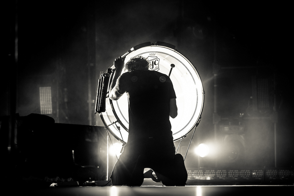 Dan Reynolds, lead vocalist of the American rock band IMAGINE DRAGONS playing live at the Koenig-Pilsener-Arena in Oberhausen, the first European show  of the Smoke + Mirrors Tour 2015.<br /> &copy; IRIS EDINGER | Photography