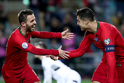 November 14, 2019, Faro, Portugal: Portugal's forward Cristiano Ronaldo (R ) celebrates with Portugal's forward Bernardo Silva after scoring his third goal during the UEFA Euro 2020 Group B football qualification match between Portugal and Lithuania at the Algarve stadium in Faro, Portugal, on November 14, 2019. (Credit Image: © Pedro Fiuza/ZUMA Wire)