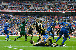 LONDON, ENGLAND - Saturday, May 17, 2008: Cardiff City's Glenn Loovens scores against Portsmouth but the referee disallows the goal during the FA Cup Final at Wembley Stadium. (Photo by David Rawcliffe/Propaganda)