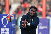 Saracens replacement Joel Kpoku (20) warming up during the Premiership Rugby Cup match between Saracens and Worcester Warriors at Allianz Park, Hendon, United Kingdom on 11 November 2018.