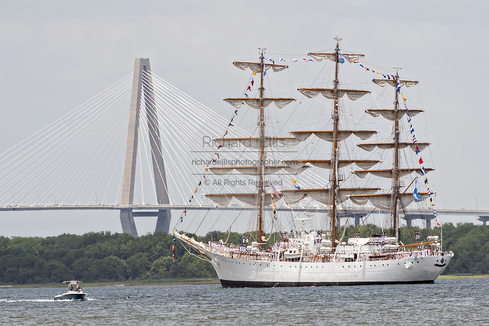 The steel hulled, full rigged, Argentine Navy Fragata ARA Libertad passes the Ravenel Bridge during the parade of sails kicking off the Tall Ships Charleston festival May 18, 2017 in Charleston, South Carolina. The festival of tall sailing ships from around the world will spend three-days visiting historic Charleston.
