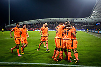 MARIBOR, SLOVENIA - OCTOBER 17: Players of Liverpool FC celebrate after scoring first goal during UEFA Champions League 2017/18 group E match between NK Maribor and Liverpool FC at Stadium Ljudski vrt, on October 17, 2017 in Maribor, Slovenia. (Photo by Vid Ponikvar / Sportida)