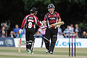 Johann Myburgh congratulates Jim Alenby on his half century during the NatWest T20 Blast South Group match between Middlesex County Cricket Club and Somerset County Cricket Club at Uxbridge Cricket Ground, Uxbridge, United Kingdom on 26 June 2015. Photo by David Vokes.