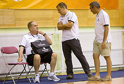 Head coach Bozidar Maljkovic, Matej Avanzo and Roman Volcic during practice session of Slovenian National Basketball team during training camp for Eurobasket Lithuania 2011, on July 12, 2011, in Arena Vitranc, Kranjska Gora, Slovenia. (Photo by Vid Ponikvar / Sportida)