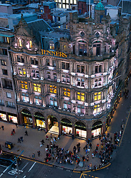 Night view of Jenners department store on Princes Street in Edinburgh, Scotland, Uk
