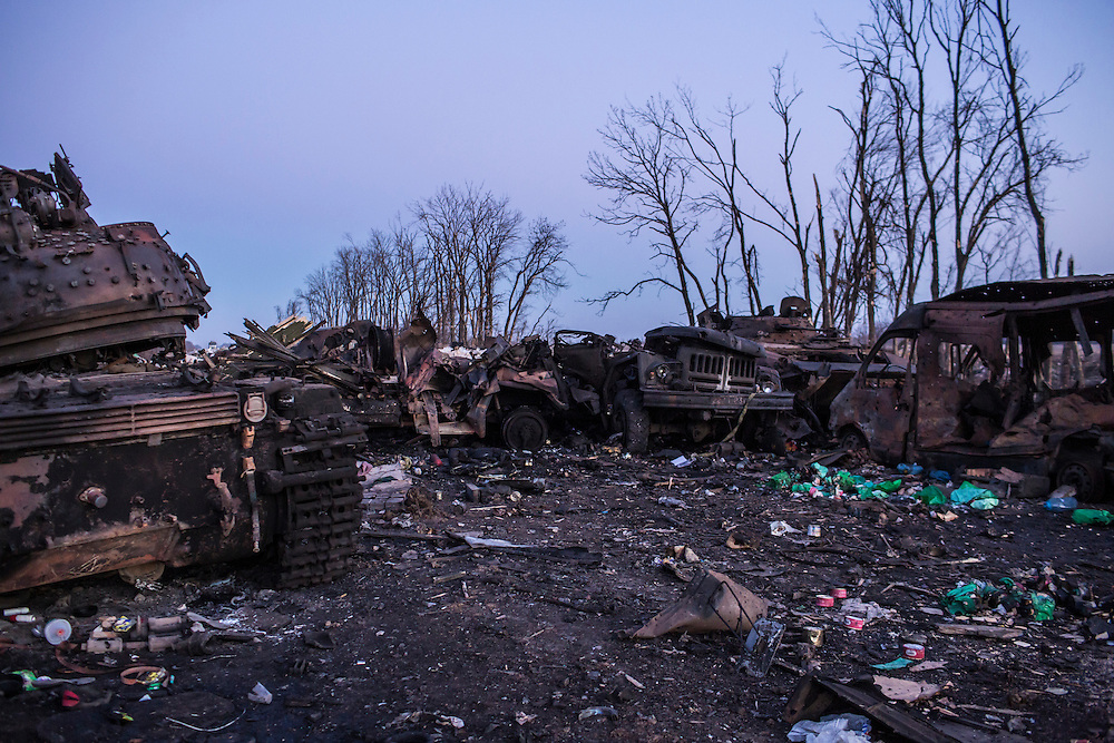 Destroyed military equipment litters the road on February 20, 2015 in Debaltseve, Ukraine. Ukrainian forces withdrew from the strategic and hard-fought town after being effectively surrounded by pro-Russian rebels, though fighting has caused widespread destruction.