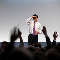 Labour leader ED MILIBAND participates in a Q&A during the Labour Party Conference at the ACC Liverpool.