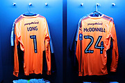 AFC Wimbledon goalkeeper George Long (1) and AFC Wimbledon goalkeeper Joe McDonnell (24) shirts during the The FA Cup 3rd round match between Tottenham Hotspur and AFC Wimbledon at Wembley Stadium, London, England on 7 January 2018. Photo by Matthew Redman.