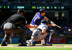 May 3, 2018 - Phoenix, AZ, U.S. - PHOENIX, AZ - MAY 03: Arizona Diamondbacks center fielder A.J. Pollock (11) bats during the MLB baseball game between the Arizona Diamondbacks and the Los Angeles Dodgers on May 3, 2018 at Chase Field in Phoenix, AZ (Photo by Adam Bow/Icon Sportswire) (Credit Image: © Adam Bow/Icon SMI via ZUMA Press)