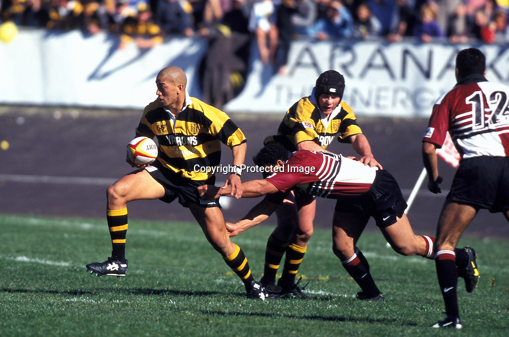 Vaimoso Fa'Aofo breaks a Harbour tackle. Rugby union Ranfurly Shield match between Taranaki and North Harbour. Harbour lost 11 points to 13 at Rugby Park, New Plymouth. 31 August 1996. Photo: Joanna Caird/PHOTOSPORT