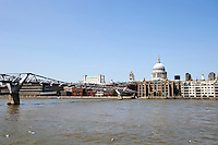 View of Millennium Bridge with view of City of London in the Background