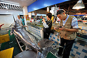 QINGDAO, CHINA - SEPTEMBER 12: (CHINA OUT) <br /> <br /> Fisherman Catches Over 300 Kilograms Swordfish<br /> <br /> Citizens look a 310-kilogram weight swordfish at a wild seafood supermarket on September 12, 2015 in Qingdao, Shandong Province of China. A fisherman caught a swordfish on Friday in Yellow Sea which weighted 310 kilograms and was in 4.1 meters long. The swordfish has carried to a seafood supermarket in Qingdao City. <br /> ©Exclusivepix Media