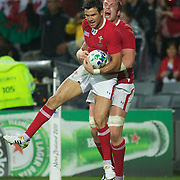 Mike Phillips, Wales, scores a try for his side and is congratulated by team mate Alun Wyn Jones, right, during the Wales V France Semi Final match at the IRB Rugby World Cup tournament, Eden Park, Auckland, New Zealand, 15th October 2011. Photo Tim Clayton...