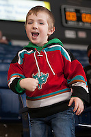 KELOWNA, CANADA - MARCH 5: A Kelowna Rockets fan practices his cheers on March 5, 2014 at Prospera Place in Kelowna, British Columbia, Canada.   (Photo by Marissa Baecker/Getty Images)  *** Local Caption ***