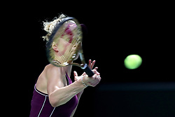 October 28, 2018 - Singapore - Elina Svitolina of the Ukraine returns a shot during the Singles Championship match between Sloane Stephens and Elina Svitolina on day 8 of the WTA Finals at the Singapore Indoor Stadium. (Credit Image: © Paul Miller/ZUMA Wire)