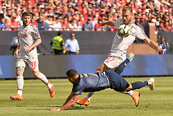 July 28, 2018 - Ann Arbor, MI, U.S. - ANN ARBOR, MI - JULY 28: Manchester United Forward Alexis Sanchez (7) and Liverpool Defender Ragnar Klavan (17) get tangled up in the first half of the ICC soccer match between Manchester United FC and Liverpool FC on July 28, 2018 at Michigan Stadium in Ann Arbor, MI (Photo by Allan Dranberg/Icon Sportswire) (Credit Image: © Allan Dranberg/Icon SMI via ZUMA Press)