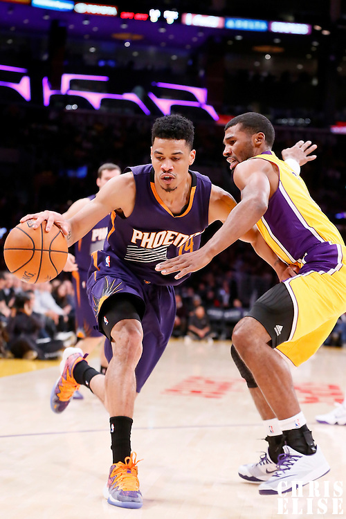 04 November 2014: Phoenix Suns guard Gerald Green (14) drives past Los Angeles Lakers guard Ronnie Price (9) during the Phoenix Suns 112-106 victory over the Los Angeles Lakers, at the Staples Center, Los Angeles, California, USA.