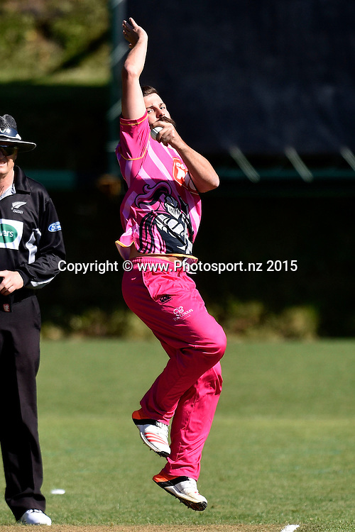 Anton Devcich of the Knights bowls during the Georgie Pie Super Smash T20 cricket match - Central Stags v Northern Knights on Sunday 29 November 2015 at the Pukekura Park, New Plymouth. Copyright Photo: Marty Melville  / www.photosport.nz