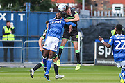 Forest Green Rovers Paul Digby(20) heads the ball during the EFL Sky Bet League 2 match between Macclesfield Town and Forest Green Rovers at Moss Rose, Macclesfield, United Kingdom on 29 September 2018.