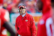 KANSAS CITY, MO - NOVEMBER 16:  Herm Edwards of the Kansas City Chiefs watches a replay on the board during a game against the New Orleans Saints at Arrowhead Stadium on November 16, 2008 in Kansas City, Missouri.  The Saints defeated the Chiefs 30-20.  (Photo by Wesley Hitt/Getty Images) *** Local Caption *** Herm Edwards