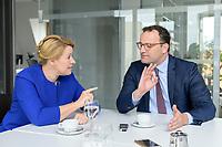 19 AUG 2019, BERLIN/GERMANY:<br /> Franziska Giffey (L), SPD, Bundesfamilienministerin, und Jens Spahn (R), CDU, Bundesgesundheitsminister, waehrend einem Doppel-Interview, Redaktionsvertretung der Rheinischen Post<br /> IMAGE: 20190819-01-019