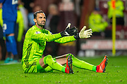 Joe Lewis (#1) of Aberdeen FC appeals to the referee during the penalty shoot out at the end of Betfred Scottish Football League Cup quarter final match between Heart of Midlothian FC and Aberdeen FC at Tynecastle Stadium, Edinburgh, Scotland on 25 September 2019.
