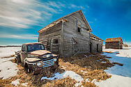 Old Truck by an Abandoned Prairie Homestead, Alberta Canada