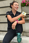 Katarzyna Niewiadoma (POL) riding for WM3 Pro Cycling chats to a friend shortly before  becoming overall winner of the OVO Energy Women's Tour, London Stage, at Regent Street, London, United Kingdom on 11 June 2017. Photo by Martin Cole.