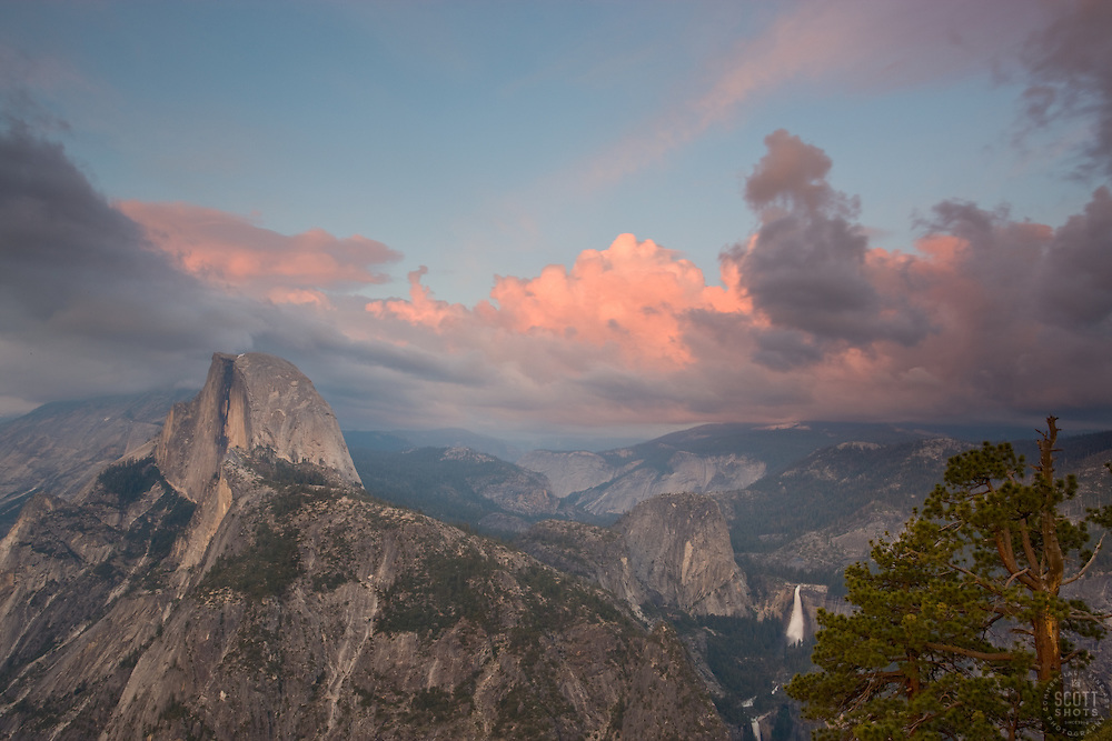 """Sunset at Half Dome, Yosemite""- Photographed from Glacier Point. Yosemite, CA."
