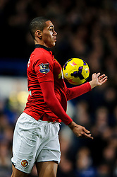 Man Utd Defender Chris Smalling (ENG) in action during the match - Photo mandatory by-line: Rogan Thomson/JMP - Tel: 07966 386802 - 19/01/2014 - SPORT - FOOTBALL - Stamford Bridge, London - Chelsea v Manchester United - Barclays Premier League.