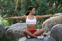 Woman exercising in park