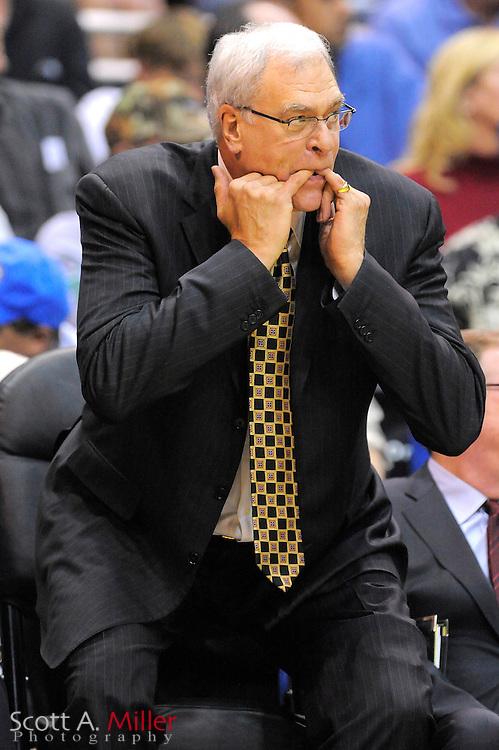 March 6, 2010; Orlando, FL, USA; Los Angeles Lakers coach Phil Jackson vs. Orlando Magic at Amway Arena...©2010 Scott A. Miller