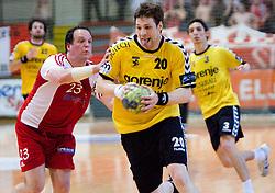 Rok Terzan vs Momir Rnic at handball match of MIK 1st Men league between RD Slovan and RK Gorenje Velenje, on May 16, 2009, in Arena Kodeljevo, Ljubljana, Slovenia. Gorenje won 27:26. (Photo by Vid Ponikvar / Sportida)