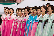 The annual Lotus Lantern Festival is held to celebrate Buddha's Birthday. Opening ceremony for the parade at Dongdaemun Stadium. The choir.