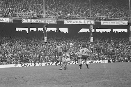 Kerry forwards Dennis Morgan and John Egan, getting the ball in this attack on the Dublin goal during the All Ireland Senior Gaelic Football Final, Kerry v Dublin in Croke Park on the 28th September 1975. Kerry 2-12 Dublin 0-11.