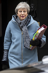 March 27, 2019 - London, London, United Kingdom - 27 March 2019. British Prime Minister Theresa May leaves 10 Downing Street for the Prime Minister's Questions in the House of Commons. London, UK. Photo by Ray Tang Media (Credit Image: © Ray Tang/ZUMA Wire)