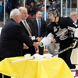 TRENTON, ON - SEP 8:  Jordan Chard #11 of the Trenton Golden Hawks receives his Dudley Hewitt Cup ring during a special pregame ceremony between the Newmarket Hurricanes and Trenton Golden Hawks on September 8, 2016 in Trenton, Ontario. (Photo by Amy Deroche/OJHL Images)