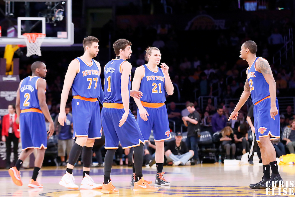 12 March 2015: New York Knicks guard Langston Galloway (2), New York Knicks guard Alexey Shved (1), New York Knicks center Andrea Bargnani (77), New York Knicks forward Lance Thomas (42), New York Knicks forward Lou Amundson (21) are seen during the New York Knicks 101-94 victory over the Los Angeles Lakers, at the Staples Center, Los Angeles, California, USA.