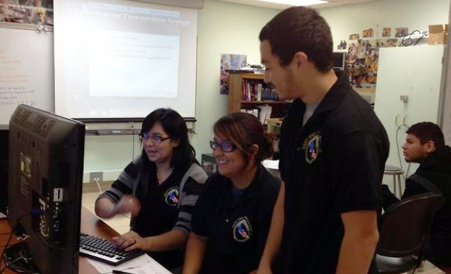 Milby and Eastwood Academy students, members of the East End Cyber Team, participate in the CyberPatriot competition. The competition teaches real-world Information Assurance and encourages students to pursue STEM careers.<br />