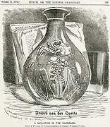 'The skeleton of Typhoid Fever lurking in the water flask even if said to be Fresh from the Sprig or Well. A warning to visitors to German spas.  Linley Sambourne cartoon from ''Punch'', London, 1879.'