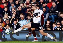 LONDON, ENGLAND - Sunday, March 17, 2019: Fulham's Aleksandar Mitrović during the FA Premier League match between Fulham FC and Liverpool FC at Craven Cottage. (Pic by David Rawcliffe/Propaganda)
