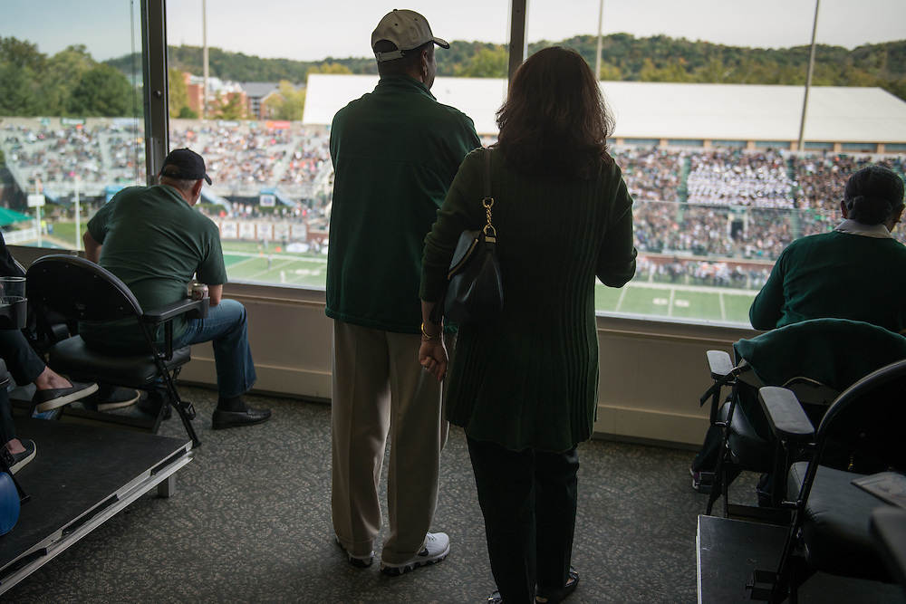 Ohio Univeristy President, Roderick McDavis, looks on from the President's box as the Bobcats take on Bowling Green during their homecoming matchup at Peden Stadium in Athens, Ohio on Saturday, October 8, 2016.