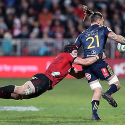 Matt Todd makes a flying tackle during the Super Rugby match between the Crusaders and Highlanders at Wyatt Crockett Stadium in Christchurch, New Zealand on Friday, 06 July 2018. Photo: Martin Hunter / lintottphoto.co.nz