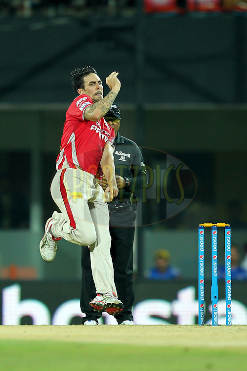 Mitchell Johnson of Kings XI Punjab bowls during match 24 of the Pepsi IPL 2015 (Indian Premier League) between The Chennai Superkings and The Kings XI Punjab held at the M. A. Chidambaram Stadium, Chennai Stadium in Chennai, India on the 25th April 2015.Photo by:  Prashant Bhoot / SPORTZPICS / IPL