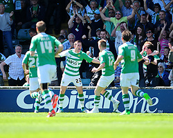 Yeovil Town's Kevin Dawson  celebrates his opening goal with team mates - Photo mandatory by-line: Dougie Allward/JMP - Tel: Mobile: 07966 386802 03/05/2013 - SPORT - FOOTBALL - Bramall Lane - Sheffield - Sheffield United V Yeovil Town - NPOWER LEAGUE ONE PLAY-OFF SEMI-FINAL FIRST LEG